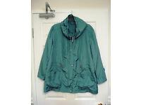 Two BeMine lighweight raincoats, aquamarine size 20 and orange size 22