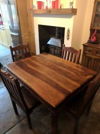 Rustic wood dining table and 4 chairs