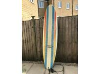 D'Arcy hand crafted long board surf board 7.8 ft