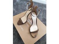 Zara Gold Fine Strappy Heels - Size 8 - RRP £39.99