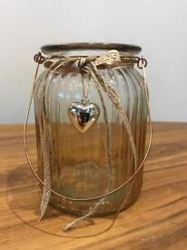 Light Gold Effect Jar with gold heart.