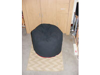 Black Bean Bag with handle and red zip