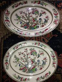 2 Vintage/Antique Serving Platters/Dishes Johnson Bros., Indian Tree Pattern
