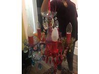 5 arm multi coloured gypsy chandelier