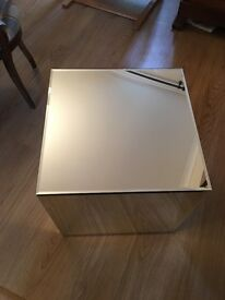Glass / Mirror CUBE shaped side table from Dwell