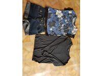 Ladies size 8 bundle, tops, shorts.