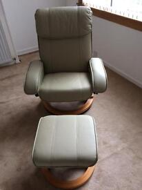 Leather recliner message chair & footstool BN