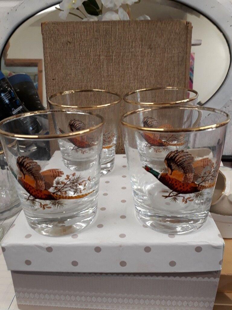 Pheasant Tumblers - glass set of 4
