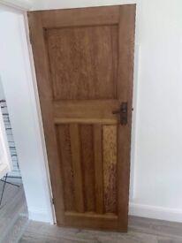 Original 1930s solid oak panelled doors Art Deco handles with locks