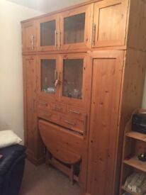 Beautiful Pine Display Cabinet with Nested Dining table