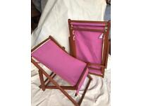 Pair of child's folding deck chairs.