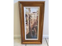 Venezia II by Craig Nelson (framed print) - painting of Venice with golden frame