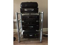 Kenwood stereo whole system with stand and Woofer