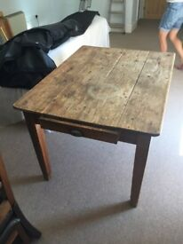 Antique Pine Kitchen Table with Drawer