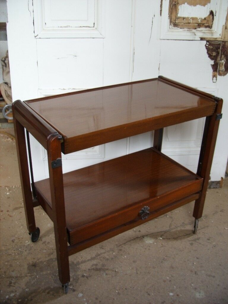 Antique Edwardian Fruit Wood Serving Trolley Adjule Tea Coffee Table English Bar Cart