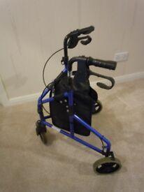 3 wheel lightweight rollator, blue
