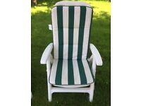 Two White Garden Recliner Chairs