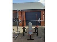 Squat rack, bench, 7ft bar, pair of spring lock collars and 100kg weights