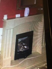 CREAM PURE MARBLE FIREPLACE (NO FIRE INCLUDED)