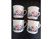 4 Floral Staffordshire Tableware coffee cups