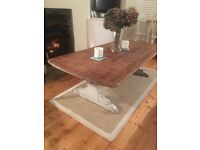 Shabby Chic Coffee Table - Solid Wood with White Painted Legs