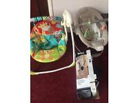 Various baby seats and bouncers
