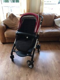 Red Silver Cross Wayfarer travel system in excellent condition