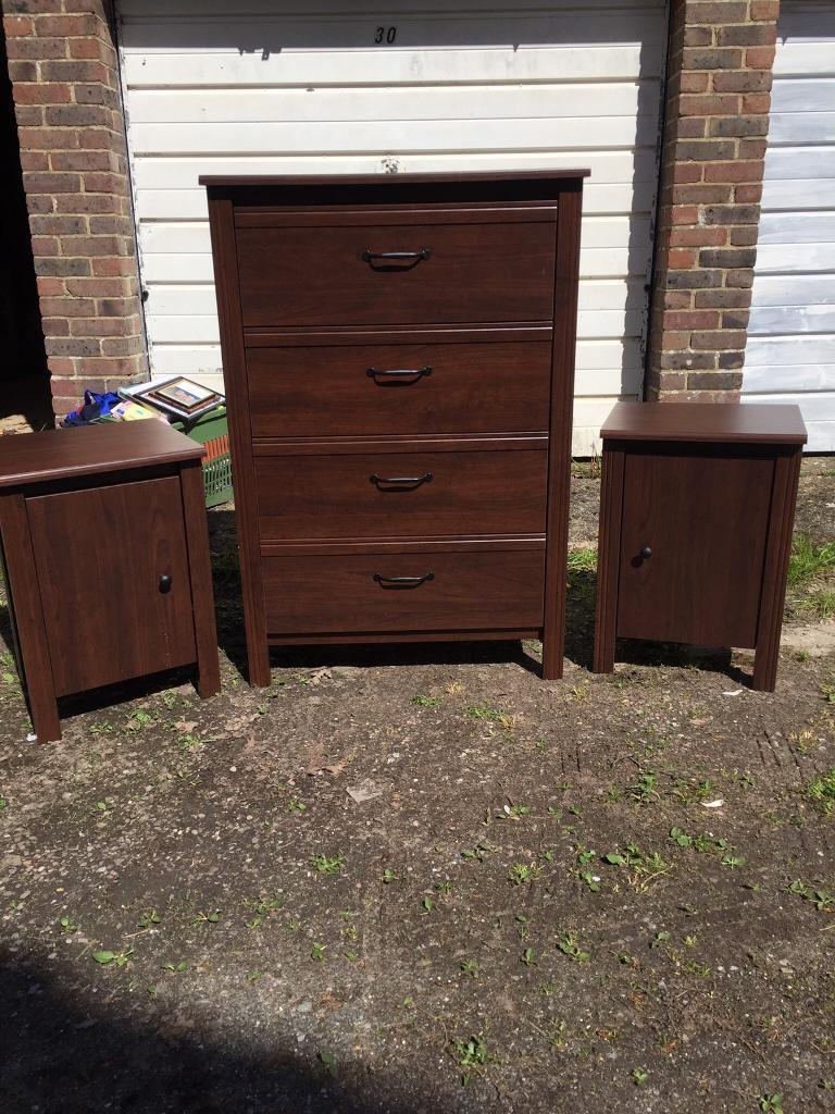 Dark Wood Chest Of Draweratching Bedside Cabinets