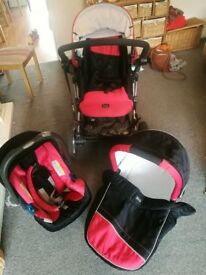 Britax B smart travel system in red and black