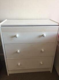 Small white wooden ikea draws