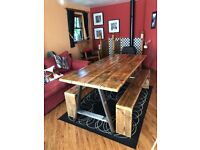 Reclaimed rustic scaffold wood dining table and benches, can deliver