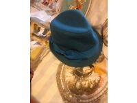 Blue bow trilby hat