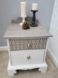 Bedside cabinet table upcycled hand painted Annie Sloan