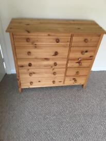 Pine coloured wooden set drawers