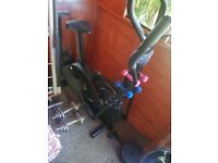 Crosstrainer with blue & pink weights