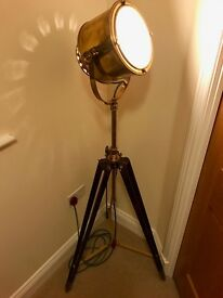 Solid brass floor lamp spot light with wooden tripod