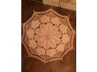 X4 Large Beautiful Hand Made Cream Cotten Umbrellas