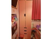 pink and white wardrobe and dràws ikea