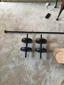 Everlast dumbbell and bar set