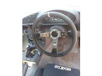 bmw e36 momo deep dish suede steering wheel with adaptor