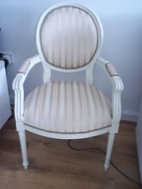 BEAUTIFUL OCCASIONAL CHAIR IN CREAM STRIPE 0NLY USED FOR SHOW