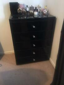 Black glass mirrored Chest of draws