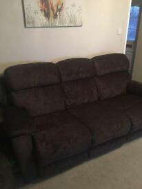 Brown 3 Seater Electric Recliner Sofa, Electric Recliner Chair & Storage Pouffe £900/open to offers