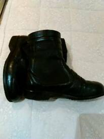 """Ladies """"BELSTAFF"""", Black Leather Motorcycle Ankle Boots."""