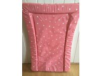 Pink / white spotty baby changing mat - hardly used and in very good condition