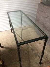 Two superb cast iron based glass topped tables - one square coffee table and one side or hall table