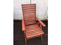 Two top quality wooden garden recliners £25 each free delivery. ( two available ).