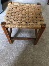 Lovely Vintage/Retro Solid Oak and woven wicker foot stool.