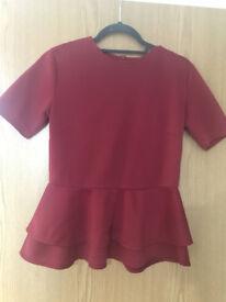 Peplum raspberry top Size 10