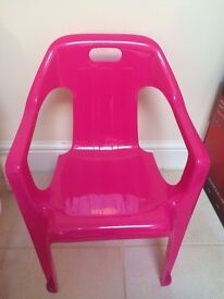 Strong pink plastic chair